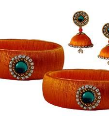 Buy Handcrafted  Orange Silk Thread bangles with Earrings jewellery-combo online