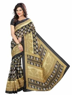 Multicolor printed bhagalpuri silk saree with blouse