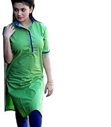 Buy Green plain cotton semi stitched long-kurtis kurtis-below-400 online