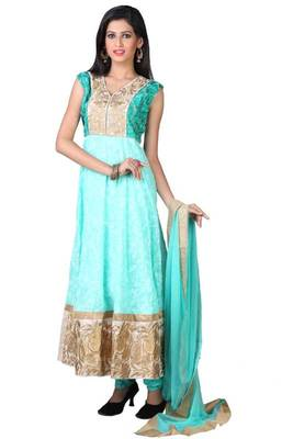Aquamarine Blue Cotton Embroidered Party and Festival Anarkali Ready Made Kameez