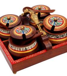 Buy Tray with  masai woman handle and set of 4 wooden bowls with spoons housewarming-gift online