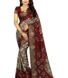 Buy Maroon hand woven art silk saree with blouse bandhani-sarees-bandhej online