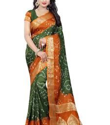 Buy Green hand woven art silk saree with blouse bandhani-sarees-bandhej online