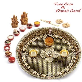 Golden Finished Flower work Diwali Puja thali