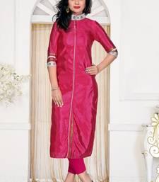 Buy Magenta plain silk stitched kurtas-and-kurtis long-kurti online