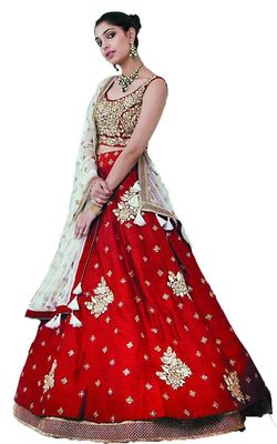 Red embroidered dupion silk unstitched lehenga with dupatta