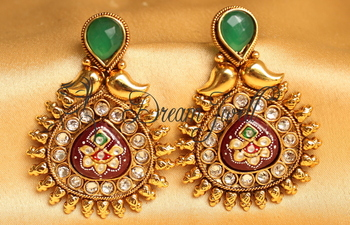 AWESOME ANTIQUE MEENAKARI GREEN-MAROON DESIGNER EARRINGS -DJ17080