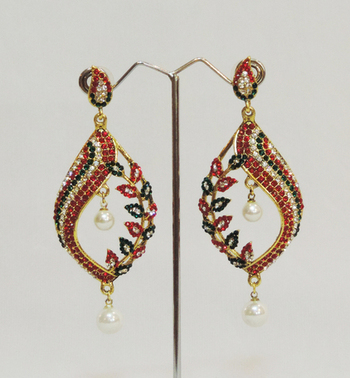 Red Green Leaves Pearl Teardrop Earring