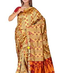 Buy Gold Maroon Zari Work Printed Uppada Silk Saree uppada-saree online