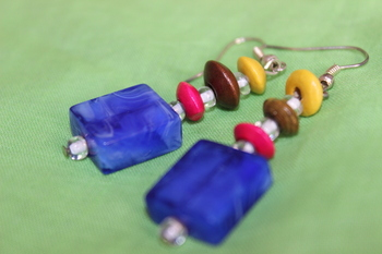 Deep Blue Square Glass Danglers