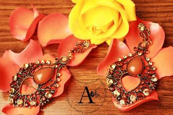 Delicate Lady Golden Brown Chandaliers Earrings, Brown Crystals & Diamond Studded