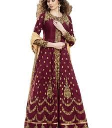 Buy Maroon thread embroidery cotton silk salwar wedding-salwar-kameez online