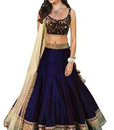 Buy Navy blue printed silk  semi stitched lehenga choli with dupatta (Premium quality) lehenga-below-1000 online