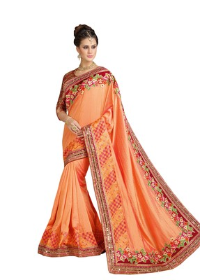 Orange embroidered brocade saree with blouse