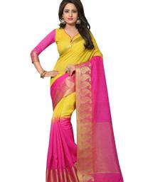 Buy Pink printed jute saree with blouse jute-saree online