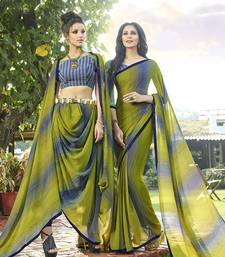 Buy green printed georgette saree with blouse women-ethnic-wear online