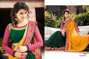 Styloce Yellow,Green Georgette,Viscose Embroidery Saree-STY-2125