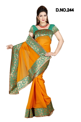 RUST FAUX CHIFFON PARTY WERE SAREE WITH BLOUSE