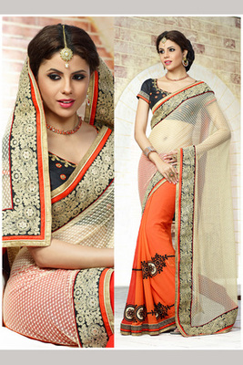 Beautiful Orange and Off-White Embroidered Saree Made of Net Bemberg Georgette Fabric with Blouse Piece