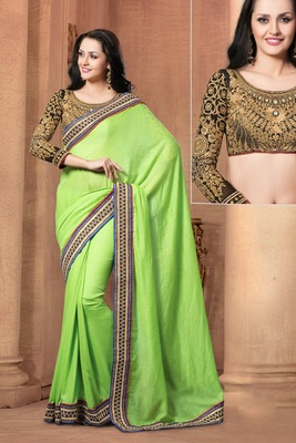 Indian green border work jute cotton partywear rajasthani saree with blouse piece