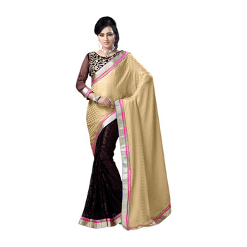 Hypnotex Cream Black Embroidered Crepe Jacquard Brasso Saree With Blouse