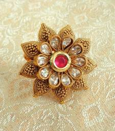 Buy Lalso Copper Royal Rani Pink Kundan Zircons Adjustable Finger Ring Ring online