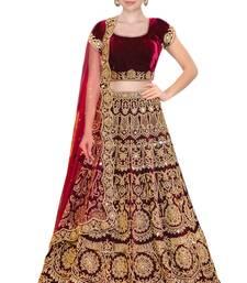 Buy Rozy Fashion Maroon embroidered velvet semi stitched lehenga with dupatta wedding-season-sale online