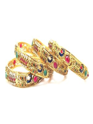 9blings peacock style ruby cz green 4pc bangle l28565