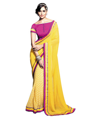 Ethnicbasket Georgette Yellow Colored Printed Saree.With Blouse