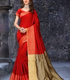 Buy Red woven banarasi cotton saree with blouse traditional-saree online
