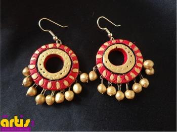 Terracotta earrings- Round