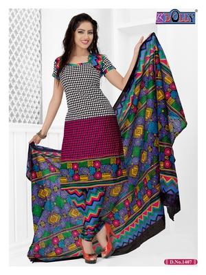 Multi Embroidered Cotton Un-Stitched Printed Salwar Kameez