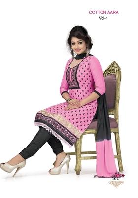 Pink Embroidered Cotton Un-Stitched Printed Salwar Kameez