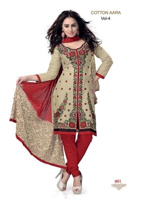 Beige Embroidered Cotton Un-Stitched Printed Salwar Kameez