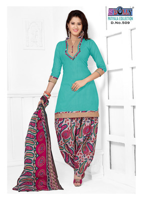 Turquoise Embroidered Cotton Un-Stitched Printed Salwar Kameez