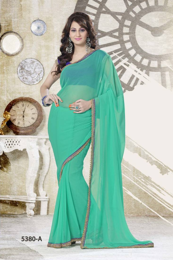 Buy Plain Sea Green Saree With Contrast Blouse Online
