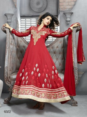 Red Embroidery Pure Georgette Semi Stitched Designer Anarkali Suit