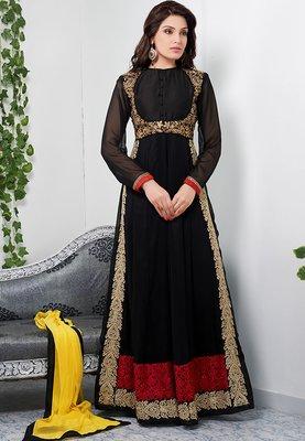 Glamorous black color full length georgette anarkali suit santoon inner with chiffon dupatta