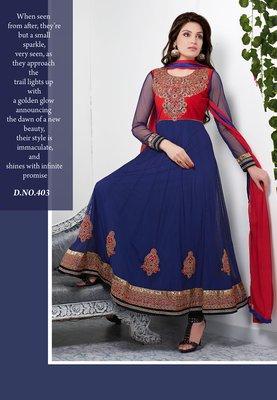 Exquisite navy blue color net anarkali salwar suit santoon inner with chiffon dupatta