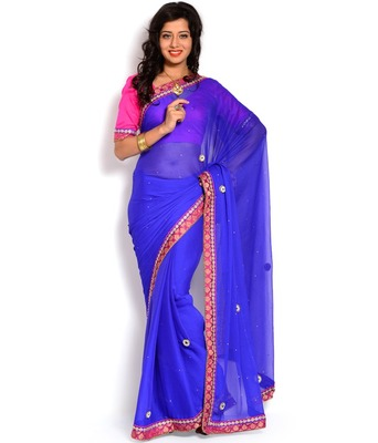 Blue color embroidered chiffon full saree with blouse