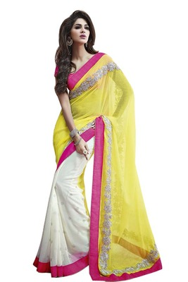 Yellow with white embroidered georgette and banarasee Half N Half saree with blouse