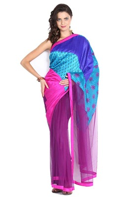 Multi color embroidered bhagalpuri silk full saree with blouse