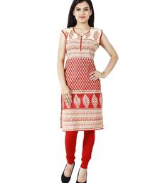 Buy Red printed cotton stitched ethnic-kurtis ethnic-kurti online