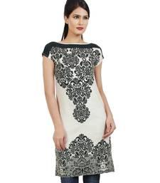 Buy Black printed cotton stitched ethnic-kurtis ethnic-kurti online