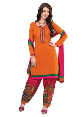 Orange & Pink unstitched churidar kameez with dupatta-Maskaa-47004