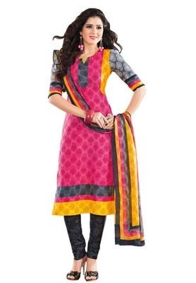 Pink & Grey unstitched churidar kameez with dupatta-KO-4616