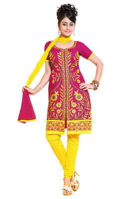 Pink & Yellow unstitched churidar kameez with dupatta-ES-9105