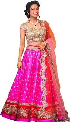 Pink embroidered silk semi stitched lehenga choli with dupatta