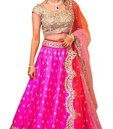 Buy Pink embroidered silk semi stitched lehenga choli with dupatta  lehenga-choli online