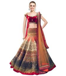 Buy Dark chiku plain brocade semi stitched lehenga choli with dupatta lehenga-below-2000 online